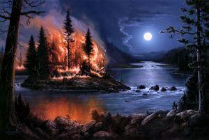 jesse-barnes-river-forest-fire-fire-island-trees-night-moon-art